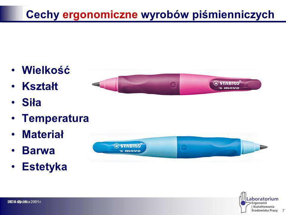 2014-05-16DC 8 stycznia 2001 r. 7 Cechy ergonomiczne wyrobów piśmienniczych Wielkość Kształt Siła Temperatura Materiał Barwa Estetyka