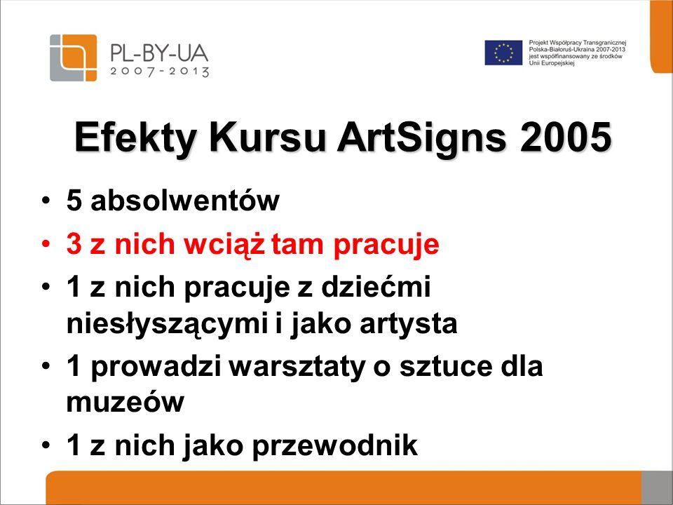 Efekty Kursu ArtSigns 2005 5 absolwentów 3 z nich wciąż tam pracuje 1 z nich pracuje z dziećmi niesłyszącymi i jako artysta 1 prowadzi warsztaty o sztuce dla muzeów 1 z nich jako przewodnik