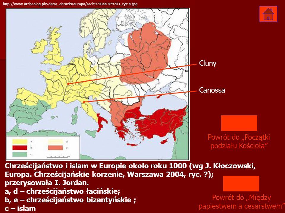 Chrześcijaństwo i islam w Europie około roku 1000 (wg J. Kłoczowski, Europa. Chrześcijańskie korzenie, Warszawa 2004, ryc. ?); przerysowała I. Jordan.