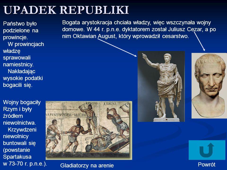 CESARSTWO Zaczyna się pax romana – pokój rzymski – okres bezpieczeństwa.