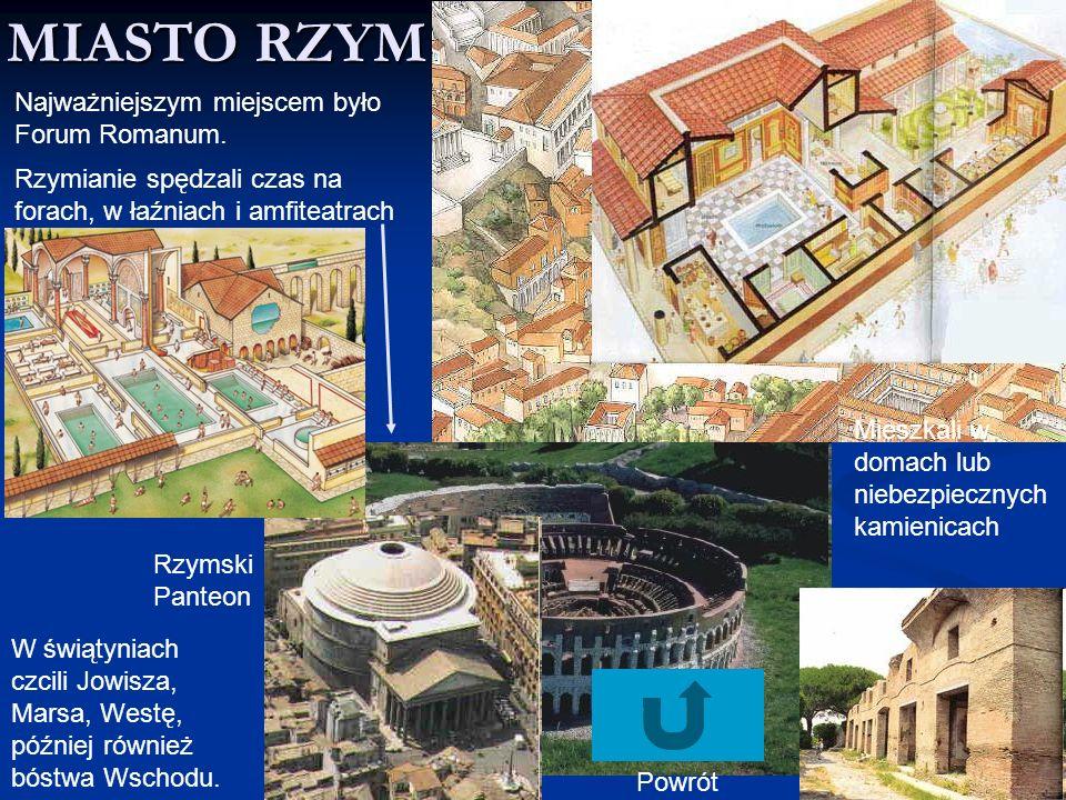 MIASTO RZYM Najważniejszym miejscem było Forum Romanum.