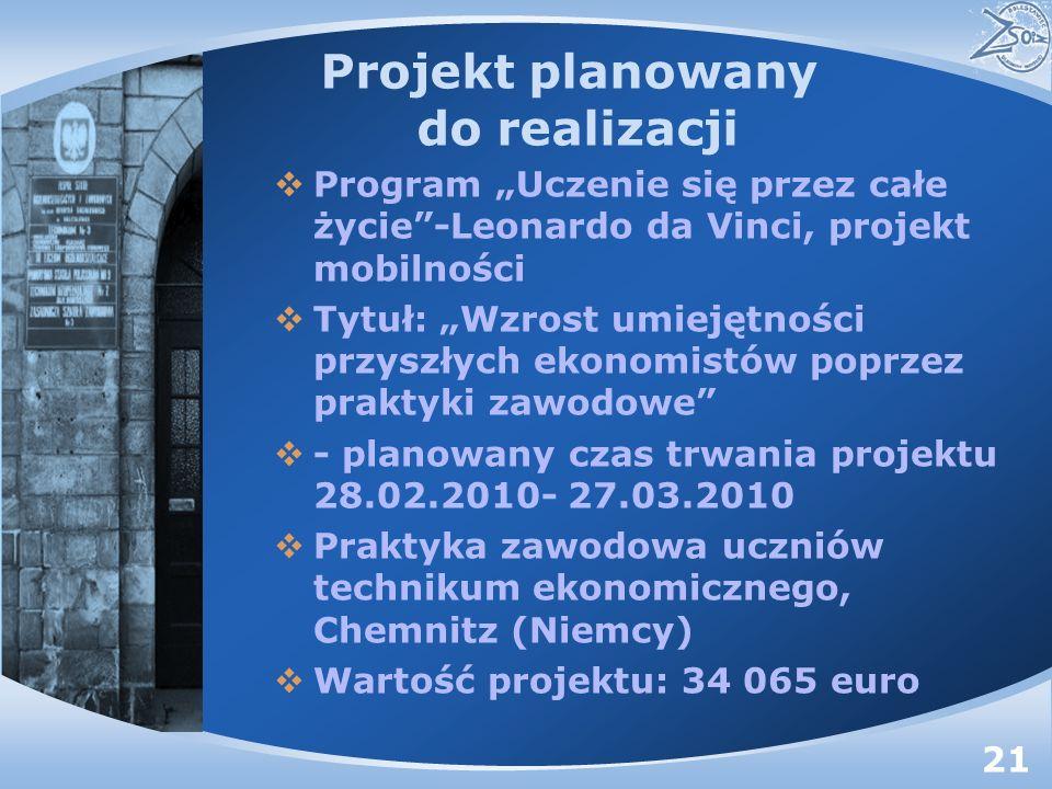 Projekt planowany do realizacji Program Uczenie się przez całe życie-Leonardo da Vinci, projekt mobilności Tytuł: Wzrost umiejętności przyszłych ekonomistów poprzez praktyki zawodowe - planowany czas trwania projektu 28.02.2010- 27.03.2010 Praktyka zawodowa uczniów technikum ekonomicznego, Chemnitz (Niemcy) Wartość projektu: 34 065 euro 21