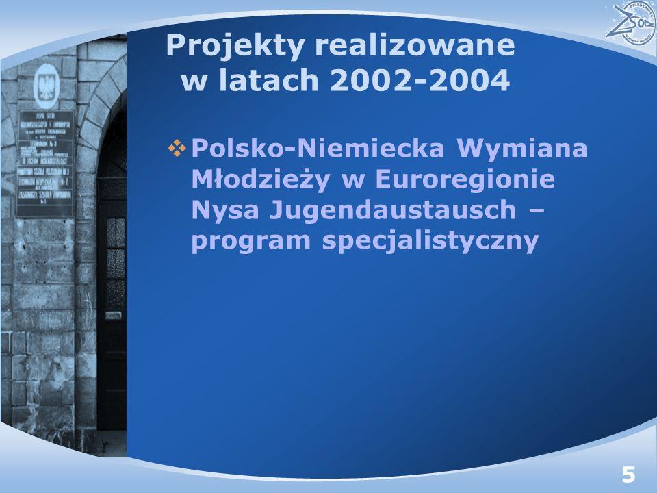 Projekty realizowane w latach 2002-2004 Polsko-Niemiecka Wymiana Młodzieży w Euroregionie Nysa Jugendaustausch – program specjalistyczny 5