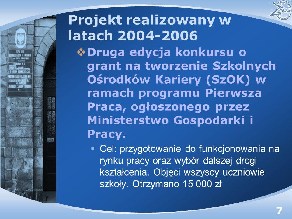 Projekt realizowany w latach 2004-2006 Druga edycja konkursu o grant na tworzenie Szkolnych Ośrodków Kariery (SzOK) w ramach programu Pierwsza Praca, ogłoszonego przez Ministerstwo Gospodarki i Pracy.