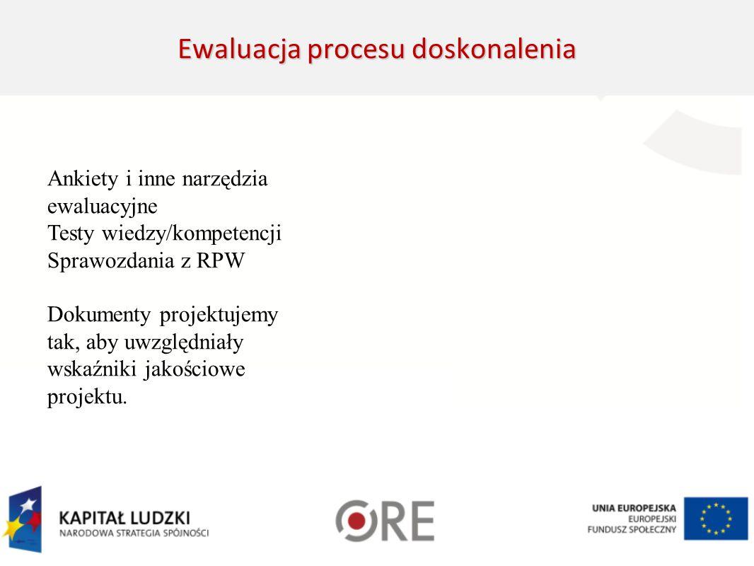 Ewaluacja procesu doskonalenia Ankiety i inne narzędzia ewaluacyjne Testy wiedzy/kompetencji Sprawozdania z RPW Dokumenty projektujemy tak, aby uwzględniały wskaźniki jakościowe projektu.