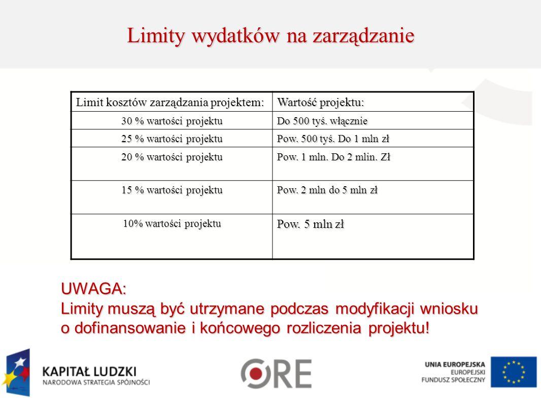Limity wydatków na zarządzanie Limit kosztów zarządzania projektem: Wartość projektu: 30 % wartości projektu Do 500 tyś.