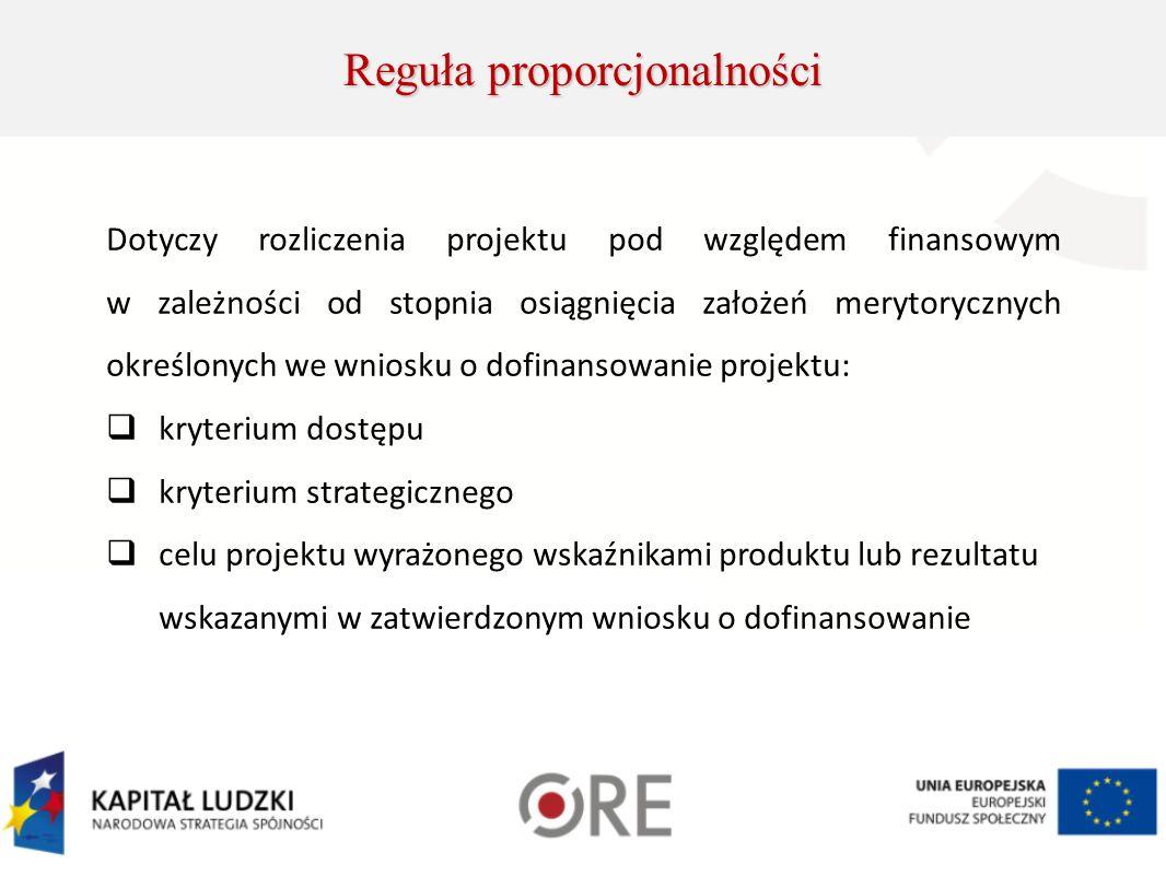 Dotyczy rozliczenia projektu pod względem finansowym w zależności od stopnia osiągnięcia założeń merytorycznych określonych we wniosku o dofinansowanie projektu: kryterium dostępu kryterium strategicznego celu projektu wyrażonego wskaźnikami produktu lub rezultatu wskazanymi w zatwierdzonym wniosku o dofinansowanie Reguła proporcjonalności