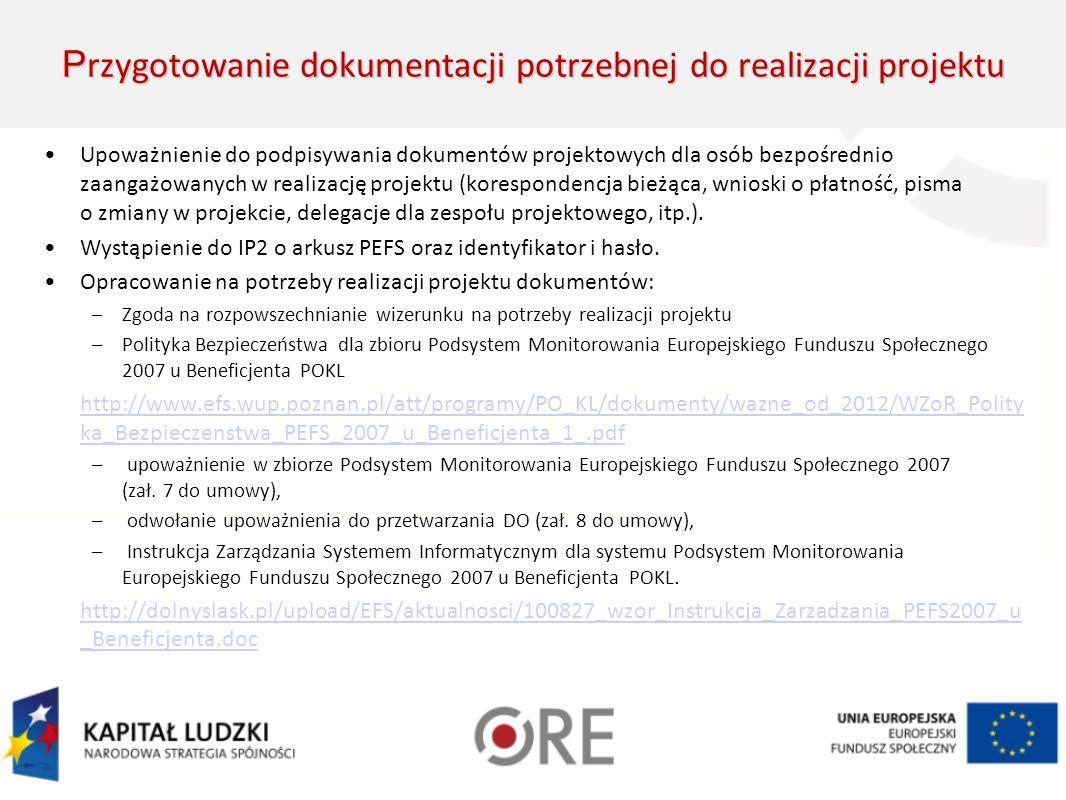 Zatrudnienie personelu projektu Personel zarządzający Personel zarządzający (kierownik, koordynator, specjaliści) Personel merytoryczny Personel merytoryczny (SORE, koordynatorzy sieci, ewentualnie eksperci) Konkurs na wolne stanowisko – wymagania niezbędne i preferowane – na podstawie opisu stanowiska pracy PZP – ustalenie kryterium, określenie wymagań Oddelegowanie pracownika do wykonywania zadań w projekcie Przyznanie dodatku do wynagrodzenia