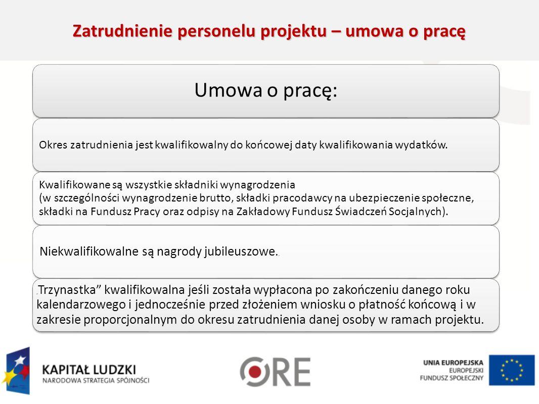 Zatrudnienie personelu projektu – umowa o pracę Umowa o pracę: Okres zatrudnienia jest kwalifikowalny do końcowej daty kwalifikowania wydatków.