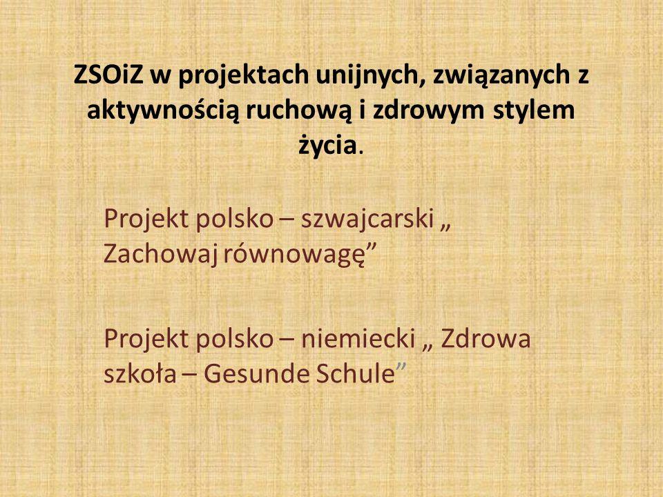 ZSOiZ w projektach unijnych, związanych z aktywnością ruchową i zdrowym stylem życia. Projekt polsko – szwajcarski Zachowaj równowagę Projekt polsko –