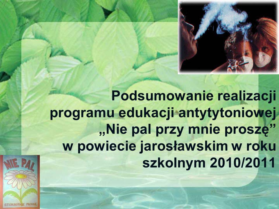 Podsumowanie realizacji programu edukacji antytytoniowej Nie pal przy mnie proszę w powiecie jarosławskim w roku szkolnym 2010/2011