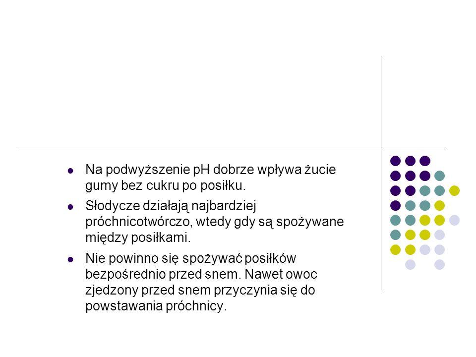 Na podwyższenie pH dobrze wpływa żucie gumy bez cukru po posiłku. Słodycze działają najbardziej próchnicotwórczo, wtedy gdy są spożywane między posiłk