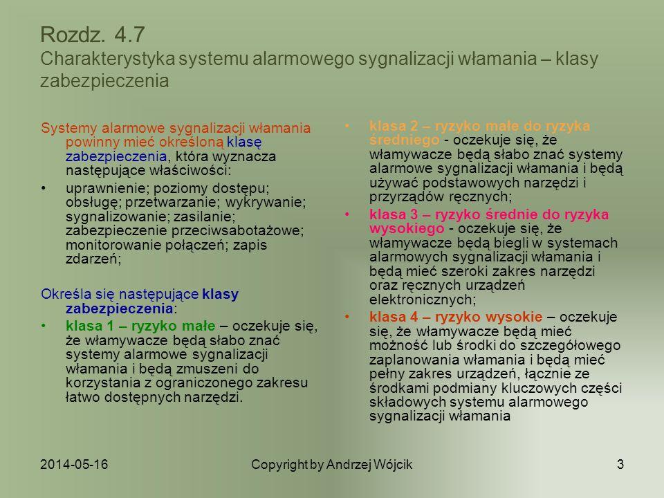 2014-05-16Copyright by Andrzej Wójcik3 Rozdz. 4.7 Charakterystyka systemu alarmowego sygnalizacji włamania – klasy zabezpieczenia Systemy alarmowe syg