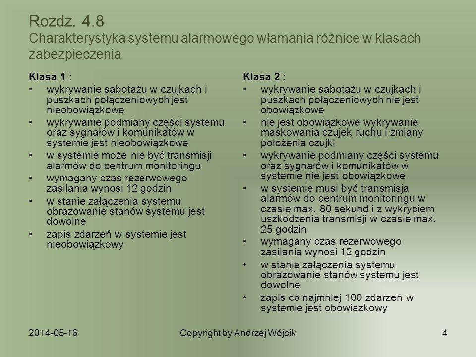 2014-05-16Copyright by Andrzej Wójcik4 Rozdz. 4.8 Charakterystyka systemu alarmowego włamania różnice w klasach zabezpieczenia Klasa 1 : wykrywanie sa