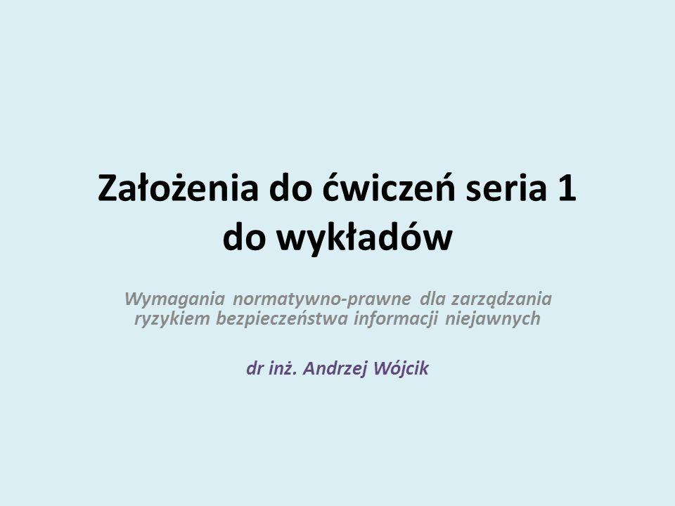 Założenia do ćwiczeń seria 1 do wykładów Wymagania normatywno-prawne dla zarządzania ryzykiem bezpieczeństwa informacji niejawnych dr inż. Andrzej Wój