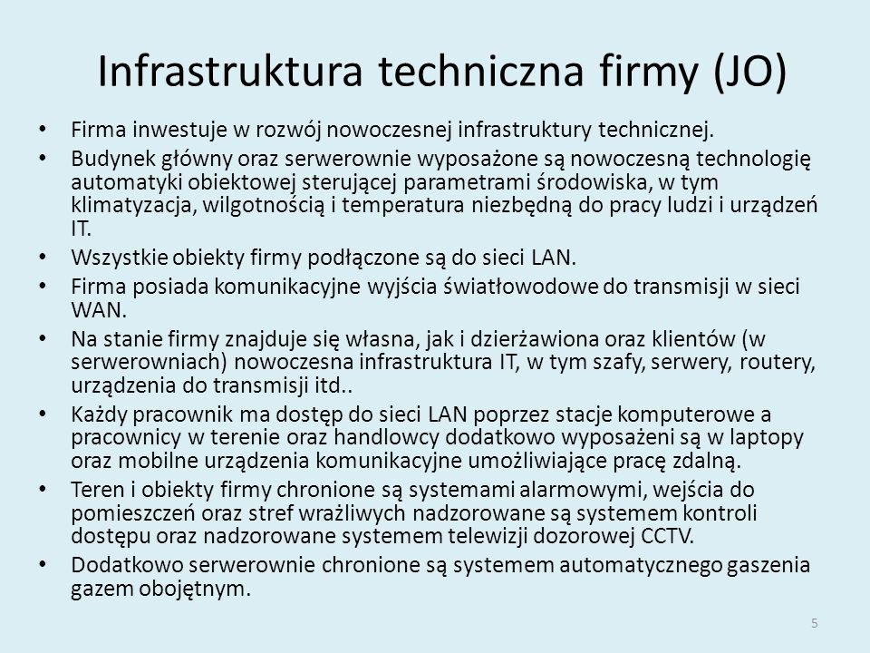 Infrastruktura techniczna firmy (JO) Firma inwestuje w rozwój nowoczesnej infrastruktury technicznej. Budynek główny oraz serwerownie wyposażone są no