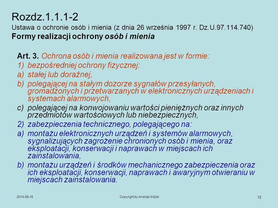 2014-05-16Copyright by Andrzej Wójcik 12 Rozdz.1.1.1-2 Ustawa o ochronie osób i mienia (z dnia 26 września 1997 r. Dz.U.97.114.740) Formy realizacji o