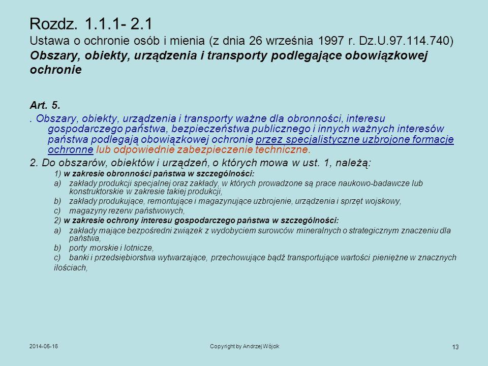 2014-05-16Copyright by Andrzej Wójcik 13 Rozdz. 1.1.1- 2.1 Ustawa o ochronie osób i mienia (z dnia 26 września 1997 r. Dz.U.97.114.740) Obszary, obiek