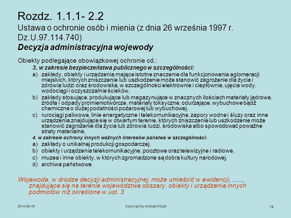 2014-05-16Copyright by Andrzej Wójcik 14 Rozdz. 1.1.1- 2.2 Ustawa o ochronie osób i mienia (z dnia 26 września 1997 r. Dz.U.97.114.740) Decyzja admini