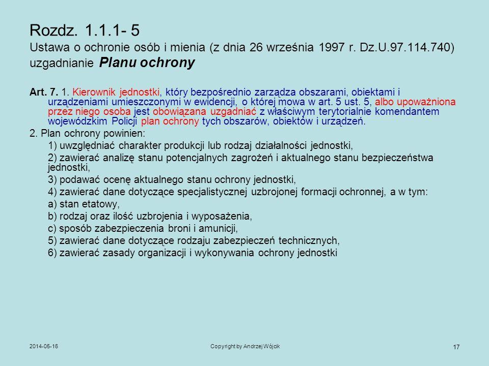 2014-05-16Copyright by Andrzej Wójcik 17 Rozdz. 1.1.1- 5 Ustawa o ochronie osób i mienia (z dnia 26 września 1997 r. Dz.U.97.114.740) uzgadnianie Plan