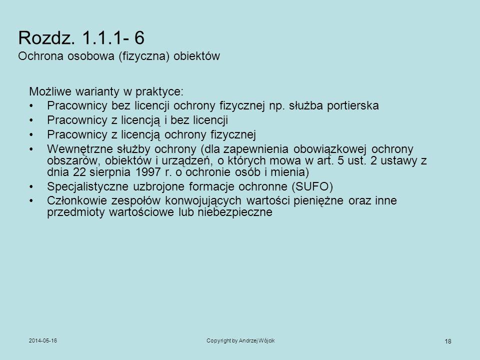 2014-05-16Copyright by Andrzej Wójcik 18 Rozdz. 1.1.1- 6 Ochrona osobowa (fizyczna) obiektów Możliwe warianty w praktyce: Pracownicy bez licencji ochr
