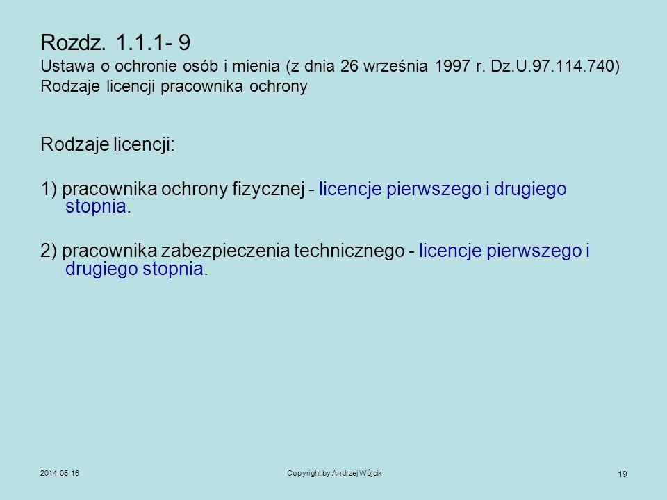 2014-05-16Copyright by Andrzej Wójcik 19 Rozdz. 1.1.1- 9 Ustawa o ochronie osób i mienia (z dnia 26 września 1997 r. Dz.U.97.114.740) Rodzaje licencji