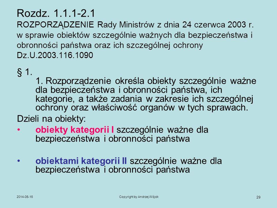 2014-05-16Copyright by Andrzej Wójcik 29 Rozdz. 1.1.1-2.1 ROZPORZĄDZENIE Rady Ministrów z dnia 24 czerwca 2003 r. w sprawie obiektów szczególnie ważny