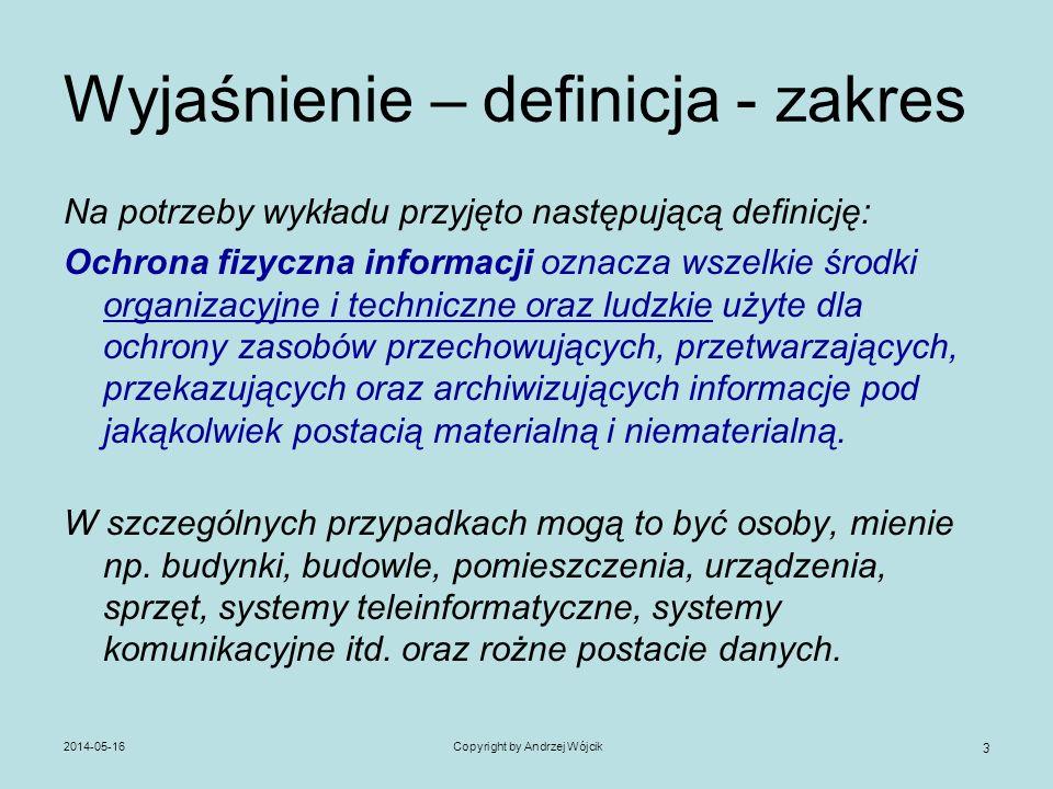 2014-05-16Copyright by Andrzej Wójcik 3 Wyjaśnienie – definicja - zakres Na potrzeby wykładu przyjęto następującą definicję: Ochrona fizyczna informac