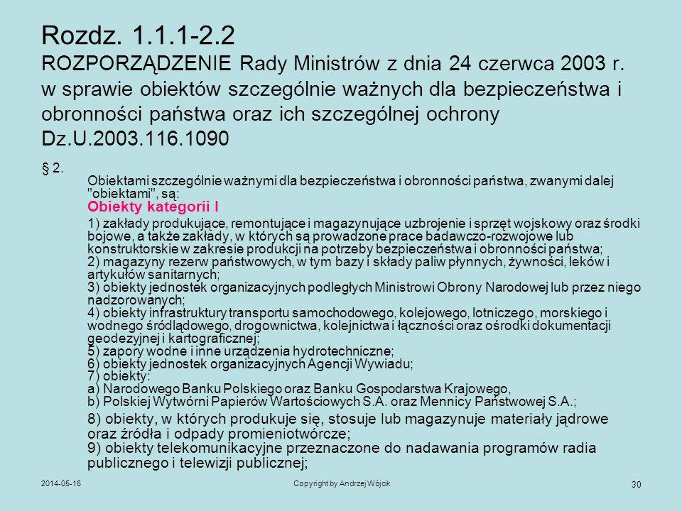 2014-05-16Copyright by Andrzej Wójcik 30 Rozdz. 1.1.1-2.2 ROZPORZĄDZENIE Rady Ministrów z dnia 24 czerwca 2003 r. w sprawie obiektów szczególnie ważny