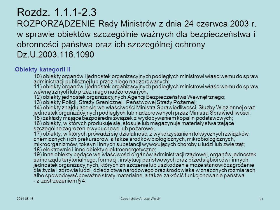 2014-05-16Copyright by Andrzej Wójcik 31 Rozdz. 1.1.1-2.3 ROZPORZĄDZENIE Rady Ministrów z dnia 24 czerwca 2003 r. w sprawie obiektów szczególnie ważny