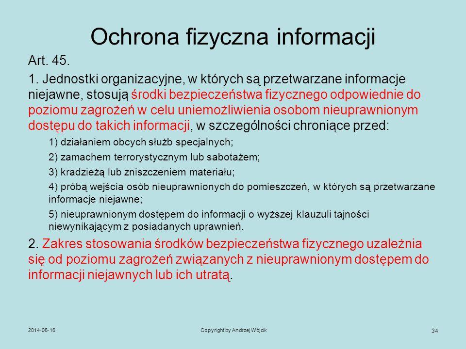 Ochrona fizyczna informacji Art. 45. 1. Jednostki organizacyjne, w których są przetwarzane informacje niejawne, stosują środki bezpieczeństwa fizyczne