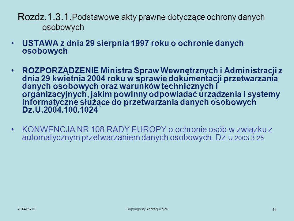 2014-05-16Copyright by Andrzej Wójcik 40 Rozdz.1.3.1. Podstawowe akty prawne dotyczące ochrony danych osobowych USTAWA z dnia 29 sierpnia 1997 roku o