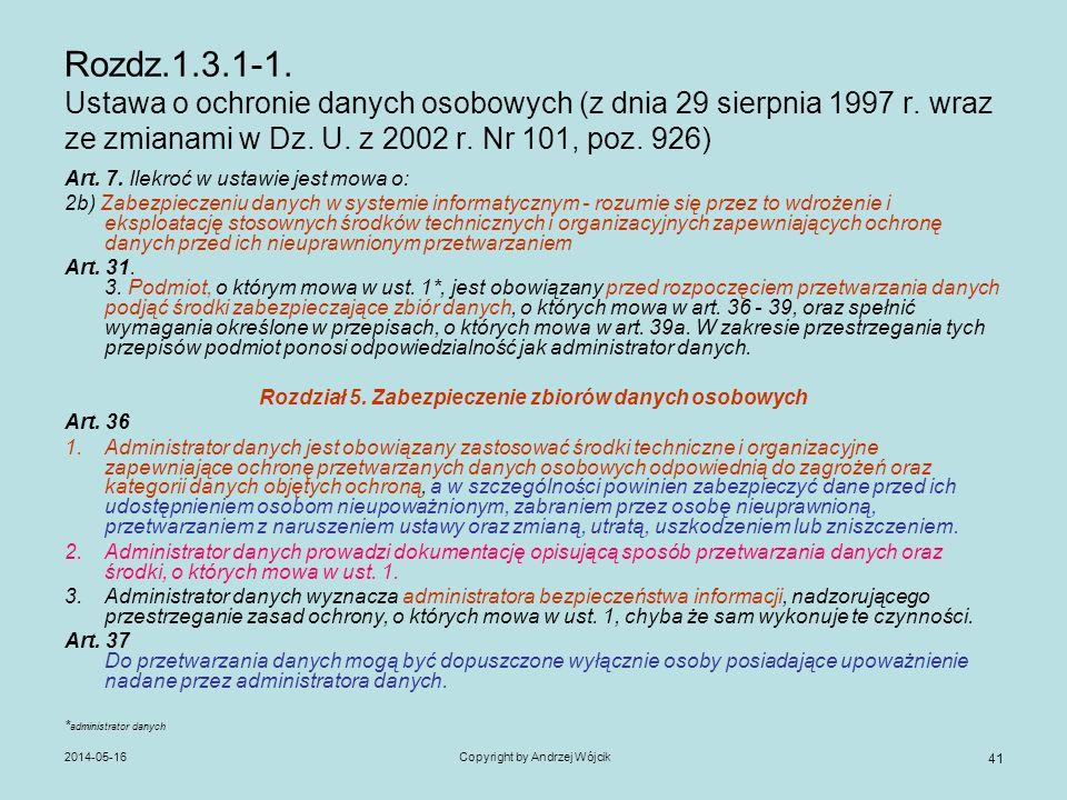 2014-05-16Copyright by Andrzej Wójcik 41 Rozdz.1.3.1-1. Ustawa o ochronie danych osobowych (z dnia 29 sierpnia 1997 r. wraz ze zmianami w Dz. U. z 200