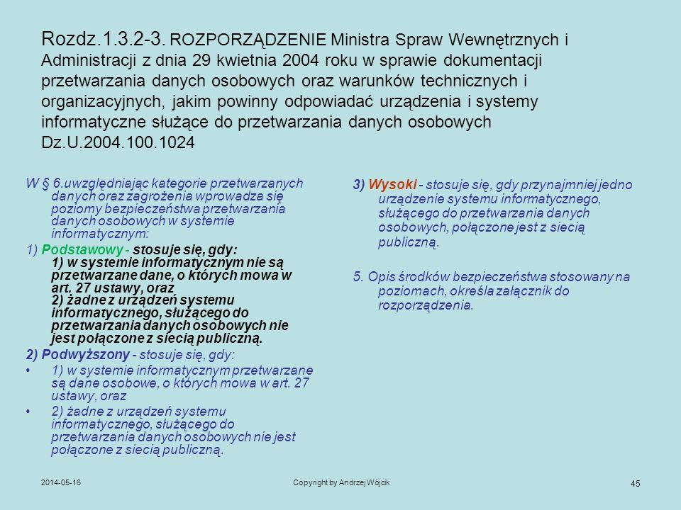 2014-05-16Copyright by Andrzej Wójcik 45 Rozdz.1.3.2-3. ROZPORZĄDZENIE Ministra Spraw Wewnętrznych i Administracji z dnia 29 kwietnia 2004 roku w spra