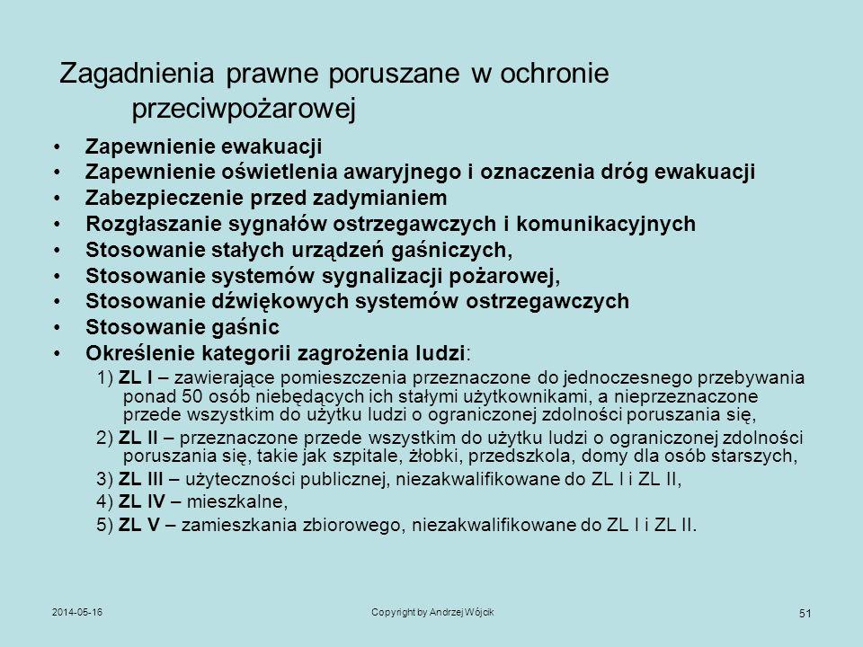 2014-05-16Copyright by Andrzej Wójcik 51 Zagadnienia prawne poruszane w ochronie przeciwpożarowej Zapewnienie ewakuacji Zapewnienie oświetlenia awaryj