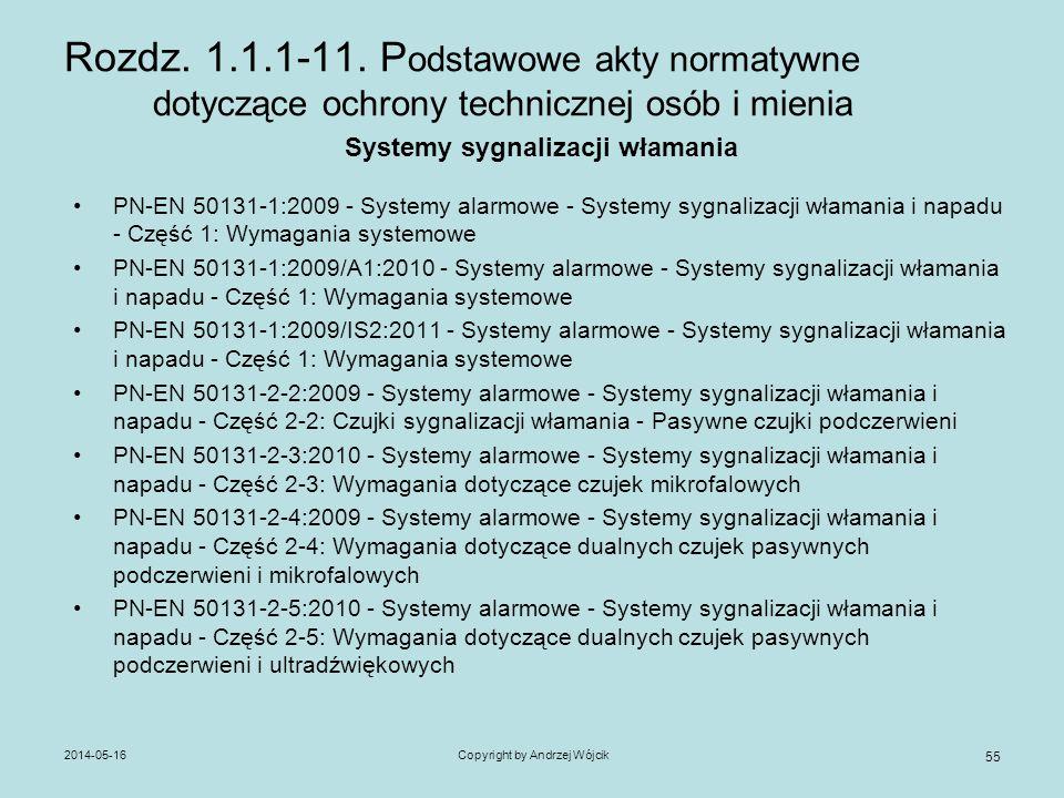 2014-05-16Copyright by Andrzej Wójcik 55 Rozdz. 1.1.1-11. P odstawowe akty normatywne dotyczące ochrony technicznej osób i mienia Systemy sygnalizacji