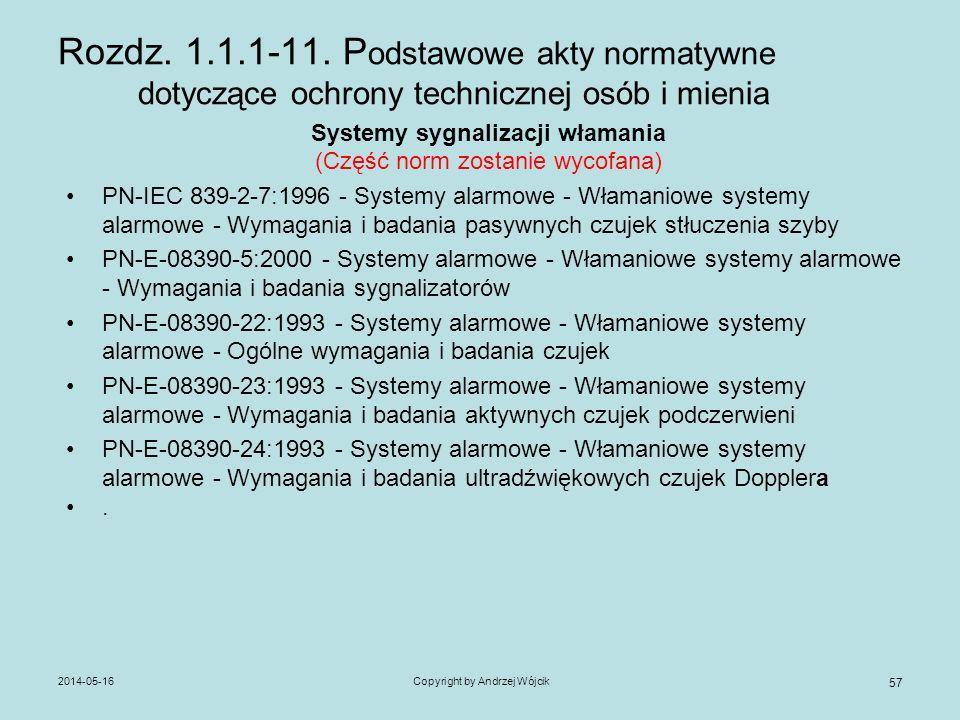 2014-05-16Copyright by Andrzej Wójcik 57 Rozdz. 1.1.1-11. P odstawowe akty normatywne dotyczące ochrony technicznej osób i mienia Systemy sygnalizacji