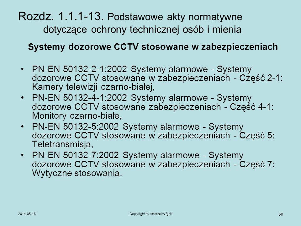 2014-05-16Copyright by Andrzej Wójcik 59 Rozdz. 1.1.1-13. Podstawowe akty normatywne dotyczące ochrony technicznej osób i mienia Systemy dozorowe CCTV