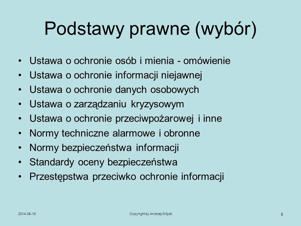 2014-05-16Copyright by Andrzej Wójcik 6 Podstawy prawne (wybór) Ustawa o ochronie osób i mienia - omówienie Ustawa o ochronie informacji niejawnej Ust