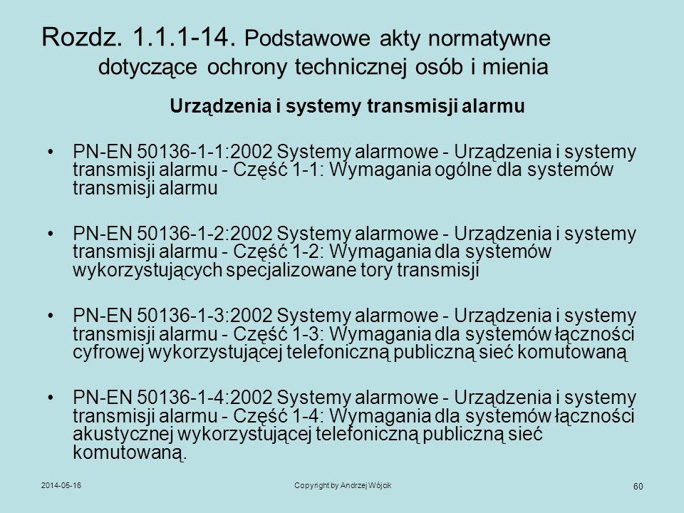 2014-05-16Copyright by Andrzej Wójcik 60 Rozdz. 1.1.1-14. Podstawowe akty normatywne dotyczące ochrony technicznej osób i mienia Urządzenia i systemy