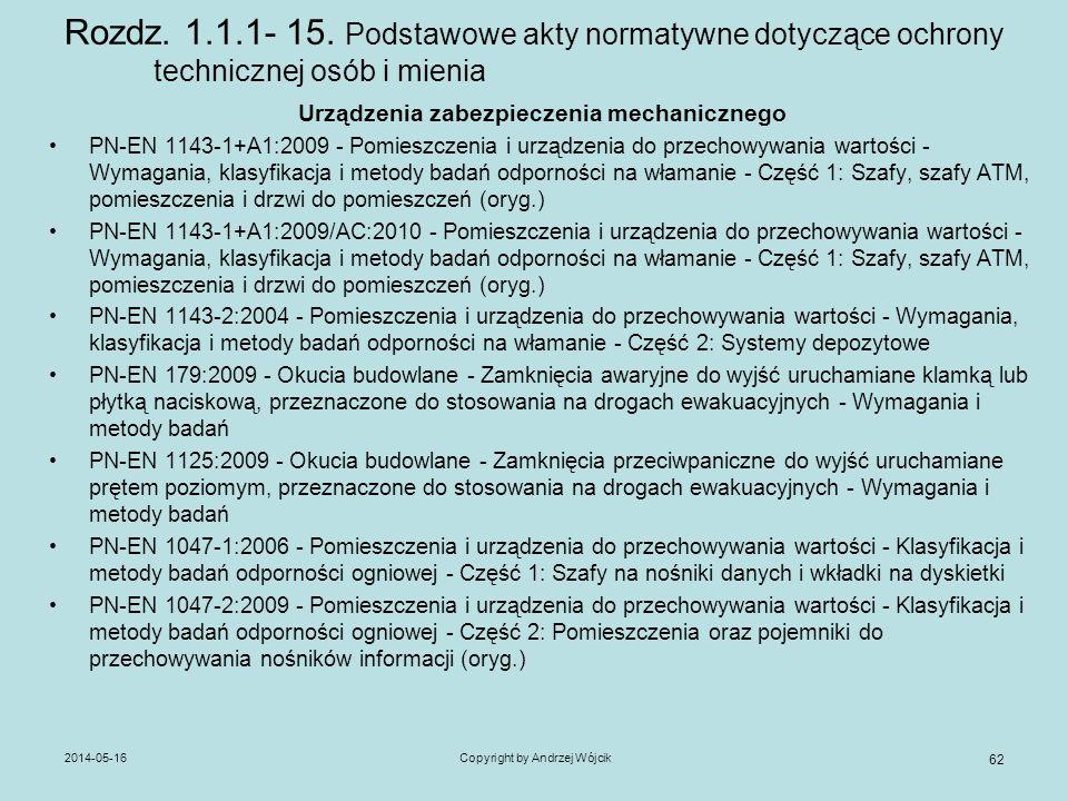 2014-05-16Copyright by Andrzej Wójcik 62 Rozdz. 1.1.1- 15. Podstawowe akty normatywne dotyczące ochrony technicznej osób i mienia Urządzenia zabezpiec