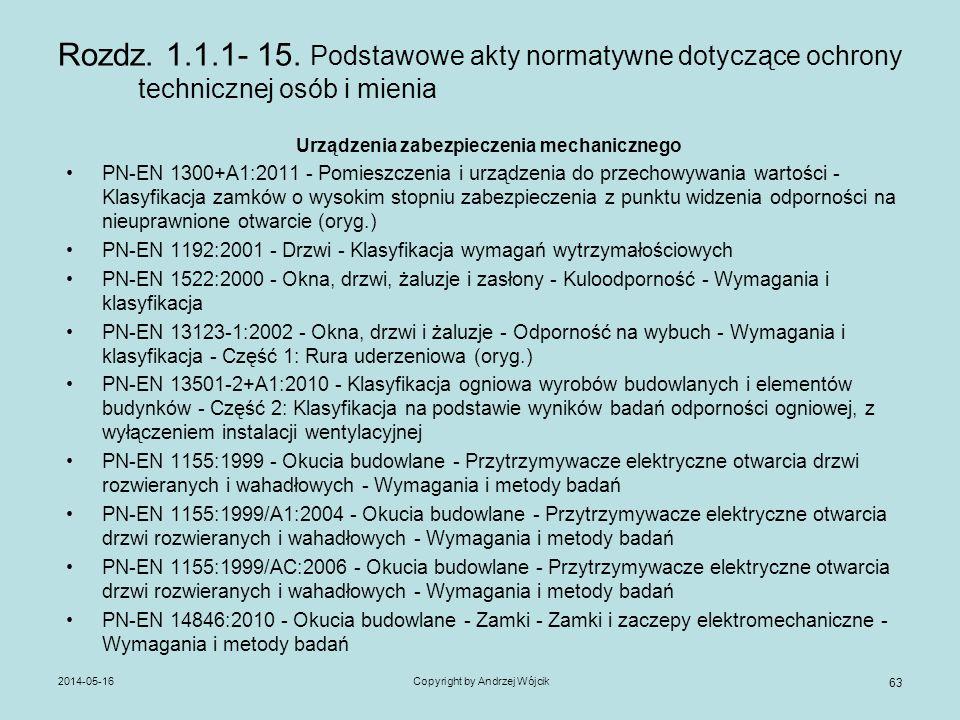 2014-05-16Copyright by Andrzej Wójcik 63 Rozdz. 1.1.1- 15. Podstawowe akty normatywne dotyczące ochrony technicznej osób i mienia Urządzenia zabezpiec