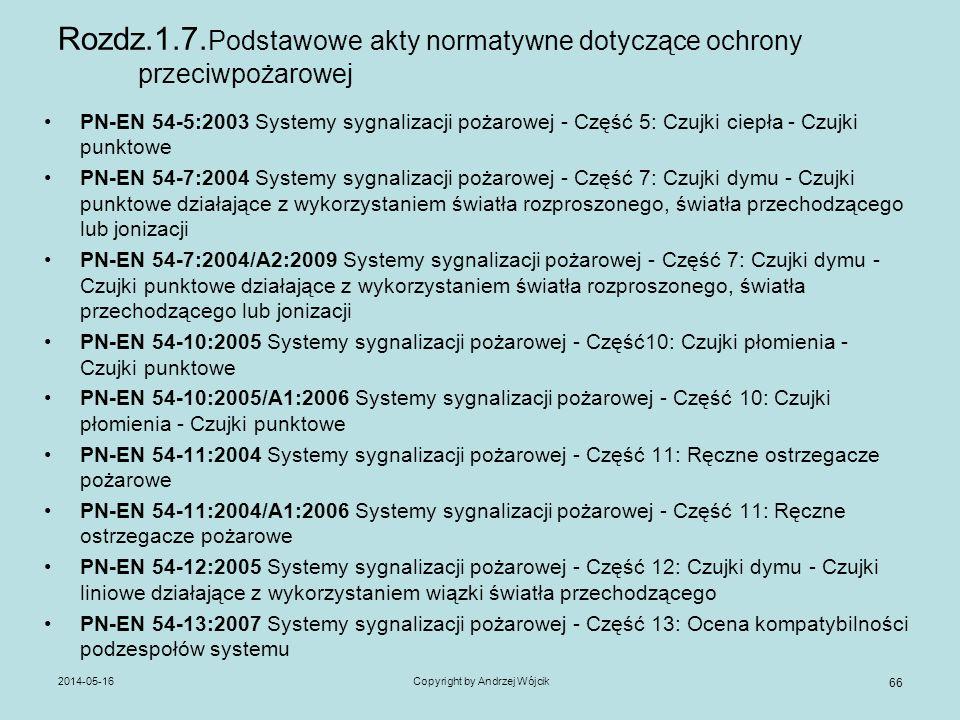 2014-05-16Copyright by Andrzej Wójcik 66 Rozdz.1.7. Podstawowe akty normatywne dotyczące ochrony przeciwpożarowej PN-EN 54-5:2003 Systemy sygnalizacji