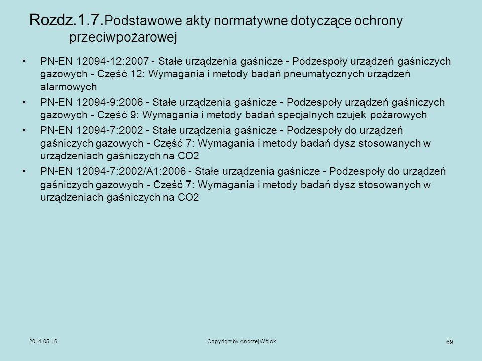 2014-05-16Copyright by Andrzej Wójcik 69 Rozdz.1.7. Podstawowe akty normatywne dotyczące ochrony przeciwpożarowej PN-EN 12094-12:2007 - Stałe urządzen