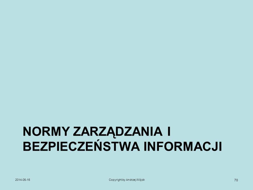 NORMY ZARZĄDZANIA I BEZPIECZEŃSTWA INFORMACJI 2014-05-16Copyright by Andrzej Wójcik 70