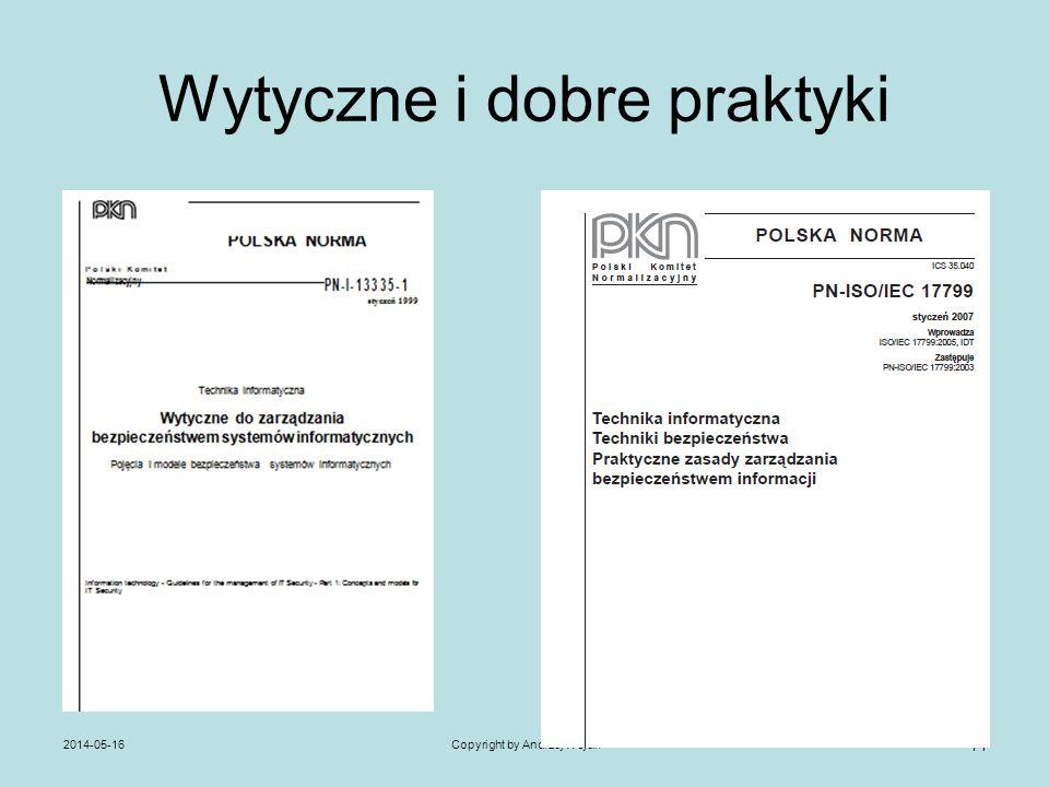Wytyczne i dobre praktyki 2014-05-16Copyright by Andrzej Wójcik 71