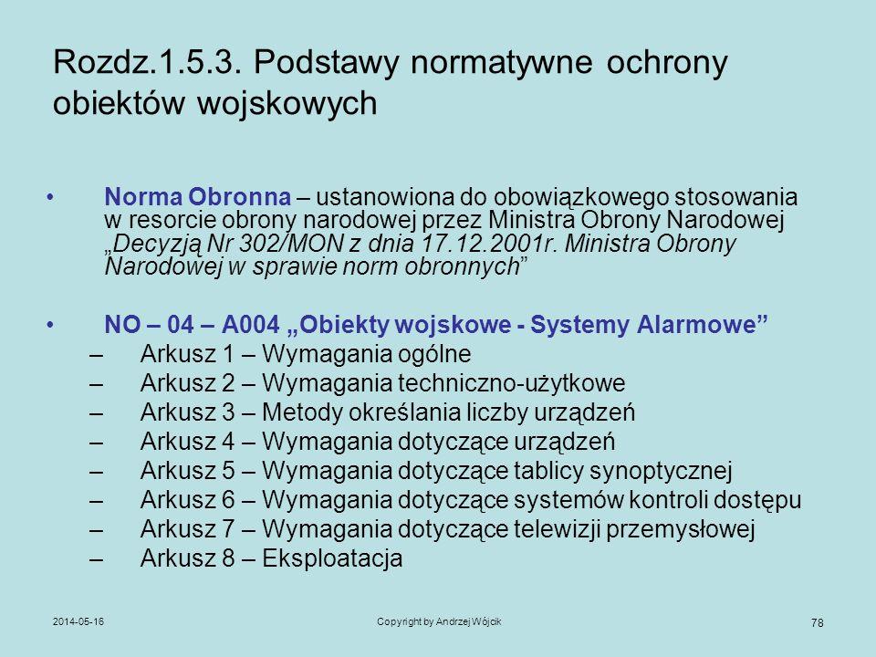 2014-05-16Copyright by Andrzej Wójcik 78 Rozdz.1.5.3. Podstawy normatywne ochrony obiektów wojskowych Norma Obronna – ustanowiona do obowiązkowego sto