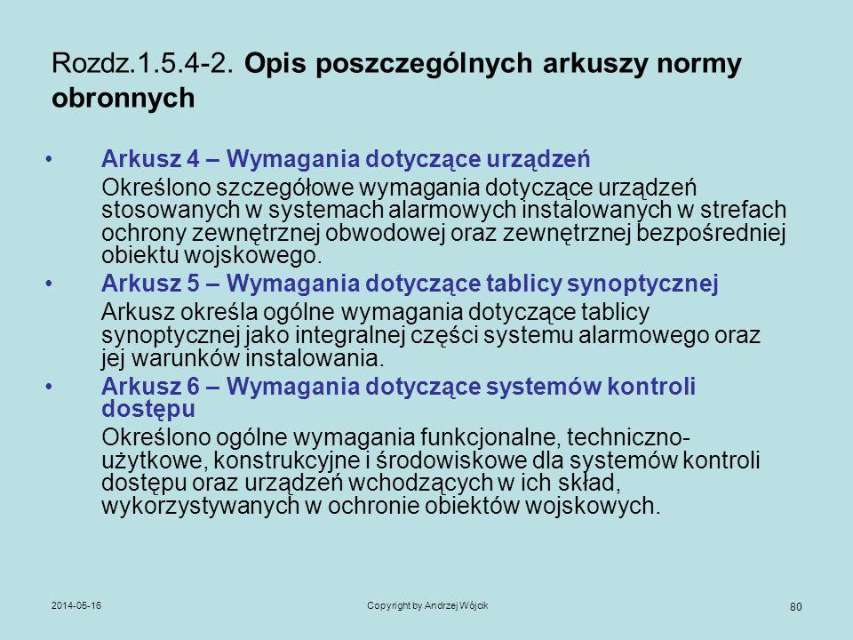 2014-05-16Copyright by Andrzej Wójcik 80 Rozdz.1.5.4-2. Opis poszczególnych arkuszy normy obronnych Arkusz 4 – Wymagania dotyczące urządzeń Określono