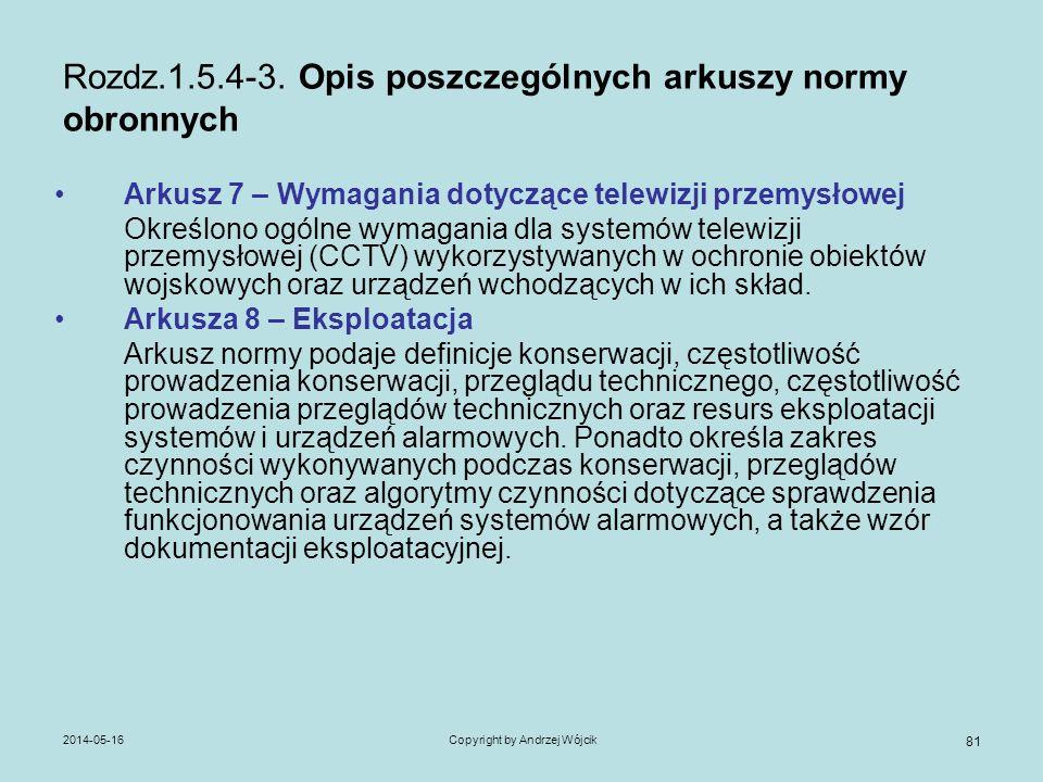 2014-05-16Copyright by Andrzej Wójcik 81 Rozdz.1.5.4-3. Opis poszczególnych arkuszy normy obronnych Arkusz 7 – Wymagania dotyczące telewizji przemysło