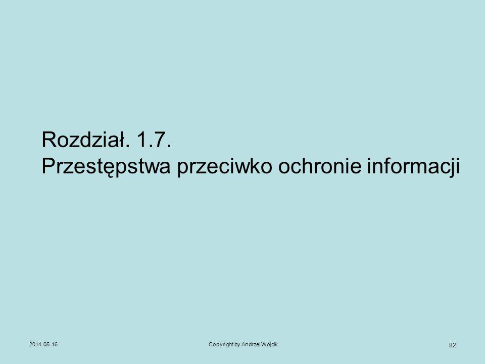 2014-05-16Copyright by Andrzej Wójcik 82 Rozdział. 1.7. Przestępstwa przeciwko ochronie informacji
